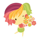 Cute boy with bouquet Royalty Free Stock Image