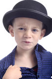 Cute boy with bowler hat Stock Photo