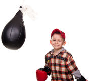 Cute boy in the boxing gloves Royalty Free Stock Photography