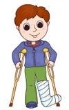 Cute boy with the broken leg Royalty Free Stock Photos