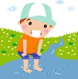 Cute boy on brook. Illustration art Stock Photography