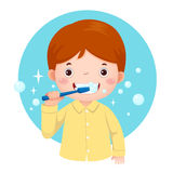 Cute boy brushing his teeth. Vector illustration of cute boy brushing his teeth Stock Image