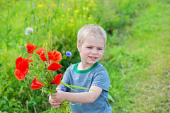 Cute boy with bunch of red poppies Stock Images