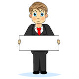 Cute boy businessman holding blank sign Royalty Free Stock Photography