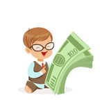 Cute boy businessman holding stack of money, kids savings and finance, richness of childhood vector Illustration. Isolated on a white background Stock Images
