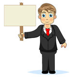 Cute boy businessman holding wood sign Royalty Free Stock Images