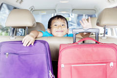 Cute boy in the car Stock Photo