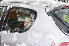 Cute boy in car Stock Images