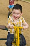Cute boy on a carousel Royalty Free Stock Images