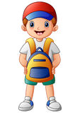 Cute boy cartoon with backpack Royalty Free Stock Photos