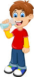 Cute boy cartoon drinking water Stock Photography