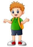 Cute boy cartoon go to school. Illustration of Cute boy cartoon go to school Royalty Free Stock Photos