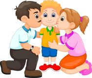 Cute boy cartoon kissed by mother and father Royalty Free Stock Image