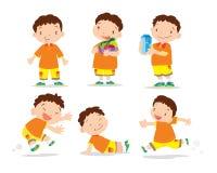Cute boy cartoon many action. Vector of Cute boy cartoon character many action Stock Photography