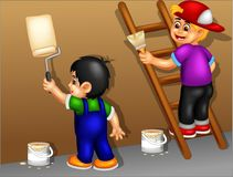 Cute boy cartoon painting wall with smiling. Vector illustration of cute boy cartoon painting wall with smiling Stock Images