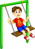 Cute boy cartoon play swing with laughing. Vector illustration of cute boy cartoon play swing with laughing Stock Image