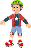 Cute boy cartoon playing roller skates Royalty Free Stock Images