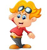 Cute boy cartoon posing Royalty Free Stock Photo