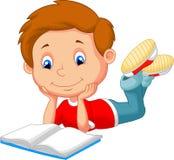 Cute boy cartoon reading book Royalty Free Stock Image