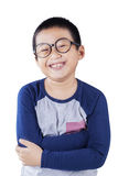Cute boy with casual clothes and glasses Stock Photography