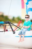 Cute boy on catamaran Royalty Free Stock Photography