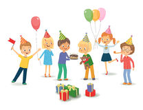 Cute boy celebrating birthday with her friends. Vector isolated stock illustration