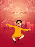 Cute boy celebrating Happy Diwali festival. Cute happy boy playing with firecrackers, celebrating and enjoying on occasion of Indian Festival of Lights, Happy Stock Image