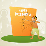 Cute boy celebrating Happy Dussehra. Royalty Free Stock Photos