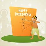 Cute boy celebrating Happy Dussehra. Royalty Free Stock Photos