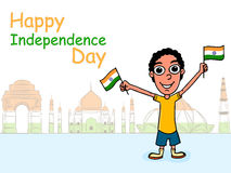 Cute boy celebrating Indian Independence Day. Stock Photos