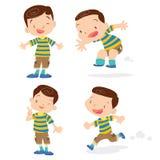 Cute boy character cartoon action. Vector of Cute boy cartoon character many action Stock Photo