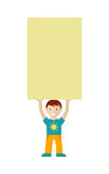 Cute Boy Character Holding Blank Message Board. Smiling cute boy character holding blank cardboard placard above head flat vector illustration isolated on white Royalty Free Stock Photography
