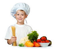 Cute boy Chef is holding raw spaghetti. isolated Stock Image