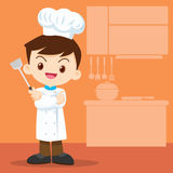 Cute boy Chef look smart Stock Photo