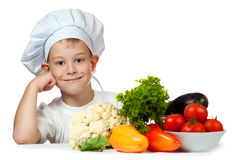 Cute boy Chef is smiling. isolated Stock Images