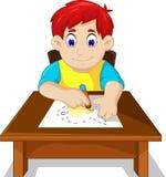 Cute boy child cartoon drawing fish Royalty Free Stock Photos