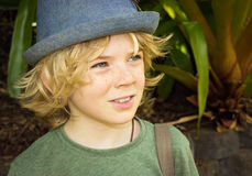 Cute boy child outside Royalty Free Stock Photo
