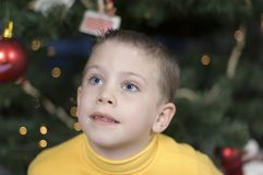 Cute boy at Christmas time. Little boy sits in front of a Christmas tree looking up Royalty Free Stock Images