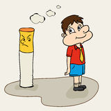 Cute boy with cigarette for No Smoking Day. Royalty Free Stock Image