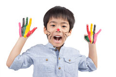 Cute boy with colorful painting Stock Photos