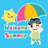 Cute Boy with colorful umbrella beach vector cartoon, Summer postcard, wallpaper, and greeting card Stock Images