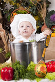 Cute boy in a cook pan. Portrait of a baby wearing a chef hat sitting inside a large cook pan Royalty Free Stock Image