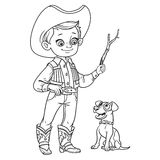 Cute boy in cowboy costume play with dog outlined Stock Photo