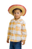 Cute boy with cowboy hat. Young, cute boy with cowboy hat, isolated on white background Royalty Free Stock Image