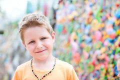 Cute boy at crafts market Stock Photo