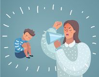 Cute Boy crying and His Mom Comforting Upset. Vector cartoon illustration of Mother cry at boy with. Cute Boy crying and His Mom shot swearing in loudspeacker stock illustration