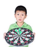 Cute boy with dart isolated on white background stock photos
