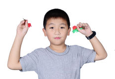 Cute boy with dart isolated on white background Stock Image