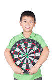 Cute boy with dart isolated on white background royalty free stock image
