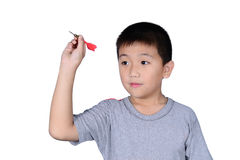 Cute boy with dart isolated on white background royalty free stock photos